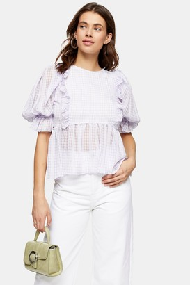 Topshop Womens Lilac Gingham Puff Sleeve Blouse - Lilac