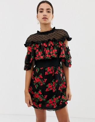 Dolly & Delicious embroidered floral short sleeve mini dress