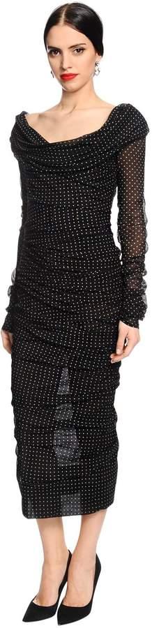 Dolce & Gabbana Polkadot Printed Draped Silk Dress