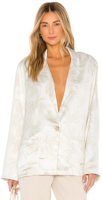 ATM Anthony Thomas Melillo Printed Satin Single Breasted Blazer