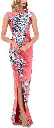 Kay Unger Cameron Printed Floral Mikado Slit Gown