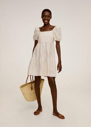 MANGO Ruffled linen dress ecru - 2 - Women