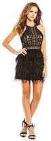 Gianni Bini Social Rissa Crew Neck Sleeveless A-Line Feather Dress