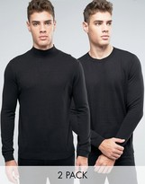 Asos 2 Pack Cotton Crew And Turtle Neck Jumper Save