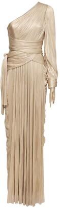 Maria Lucia Hohan Eden Silk Foiled One Sleeve Long Dress