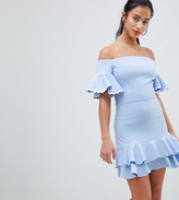 John Zack Petite Off Shoulder Mini Skater Dress