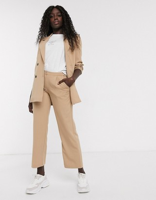 Pieces pinstripe wide leg tailored trousers