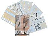 Flash Tattoos BohoTats Set of 5 Sheets - Over 100+ Intricate Designs - Stunning Metallic Flashtats - Non Toxic - Quality Guarantee - Temporary Metallic Tattoos