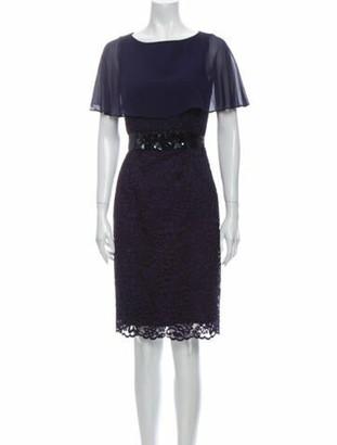 Teri Jon by Rickie Freeman Bateau Neckline Knee-Length Dress Blue