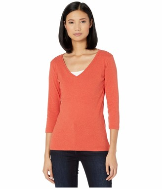 Pendleton Women's 3/4-Sleeve V-Neck Cotton Rib Tee