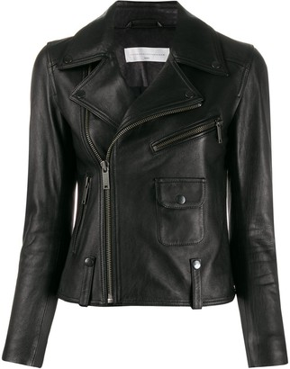 Victoria Victoria Beckham Cropped Leather Biker Jacket