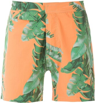 AMIR SLAMA Foliage Print Swim Short