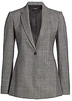 Theory Women's Prince of Wales Wool-Blend Check One-Button Power Jacket - Size 0