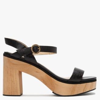 Carmen Saiz Black Textured Leather Platform Sandals