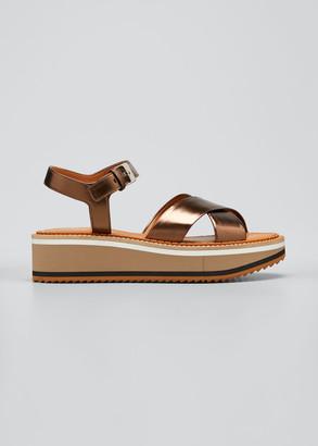 Clergerie Fara Metallic Crisscross Sport Sandals