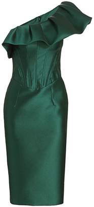 Gustavo Cadile Pique Ruffled One-Shoulder Sheath Dress