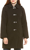 London Fog Clip Front Rain Coat With Detachable Hood