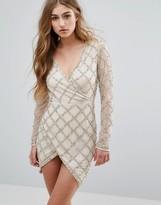 Missguided Peace + Love Embellished Wrap Mini Dress