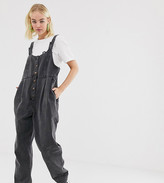 Reclaimed Vintage inspired denim jumpsuit with button front and buckle detail