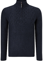 John Lewis Frosty Cable Zip Neck Jumper