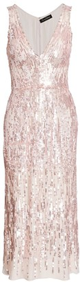 Jenny Packham Sleeveless Sequin Tea Length Dress
