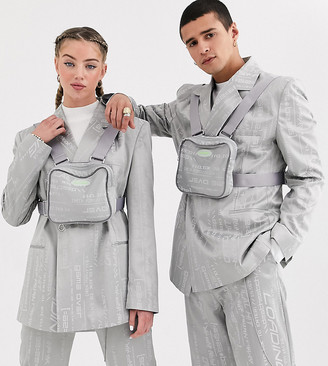 Collusion COLLUSION Unisex jacquard blazer with detachable body bag-Grey