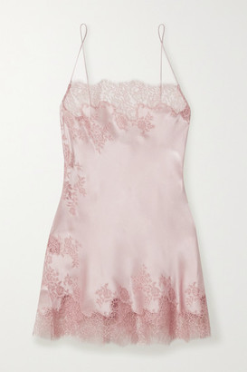 Carine Gilson Caudry Lace-trimmed Silk-satin Chemise - Antique rose
