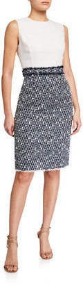 Oscar de la Renta Stretch Wool Crepe & Tweed Sheath Day Dress