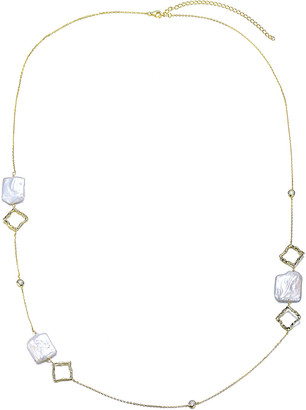 Genevive 18K Over Silver 16-19Mm Freshwater Pearl Necklace