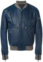 Dolce & Gabbana leather bomber jacket - men - Lamb Skin/Polyester/Acetate/Viscose - 48