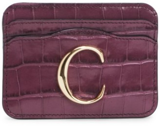 Chloé C Croc-Embossed Leather Card Holder