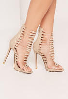 Missguided Nude Transparent Panelled Strappy Gladiator Heels