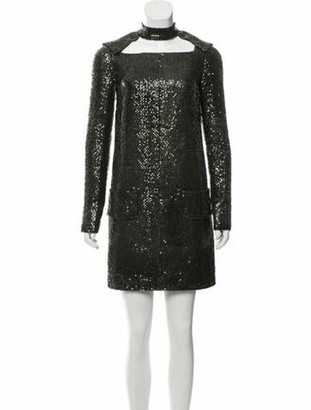 Tom Ford Embellished Long Sleeve Dress green