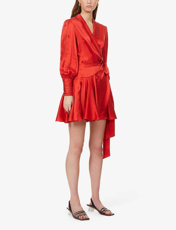 Zimmermann Ruffled silk-charmeuse mini wrap-dress