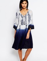 French Connection Vacation Wave Smock Dress in Tie Dye