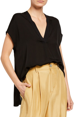 Vince V-Neck Short-Sleeve Rib Trim Silk Blouse