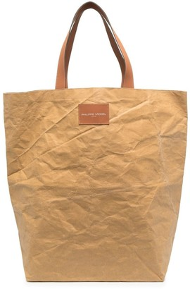 Philippe Model Paris Large Logo Patch Leather Tote Bag