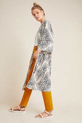 Anthropologie Margaux Leopard Duster Kimono By in Black Size ALL