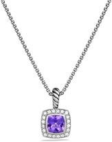 David Yurman Petite Albion Pendant with Amethyst and Diamonds on Chain