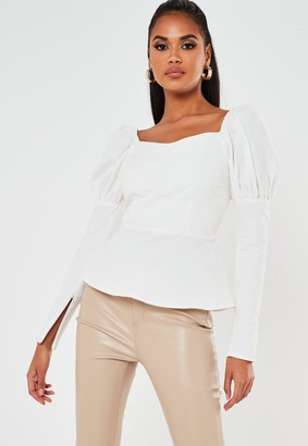 Missguided White Twill Long Sleeve Milkmaid Top
