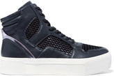 DKNY Bosley metallic leather and mesh high-top sneakers