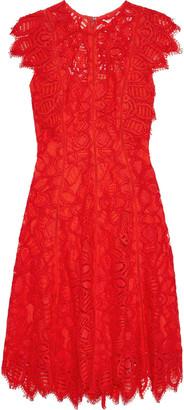 Lela Rose Ruffle-trimmed Corded Lace Dress