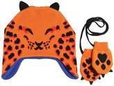 Paul Smith Leopard Cotton Blend Knit Hat & Mittens