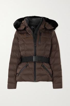 Goldbergh Soldis Hooded Belted Faux Fur-trimmed Quilted Down Ski Jacket - Brown