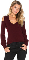 Autumn Cashmere Cold Shoulder V Neck Sweater in Burgundy