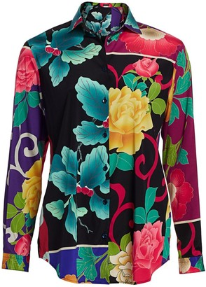 Etro Japanese Floral Stretch-Silk Tunic Blouse