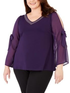 Belldini Plus Size Embellished Chiffon-Sleeve Top