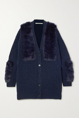Stella McCartney Cable-knit Wool-blend And Faux Fur Cardigan - Navy