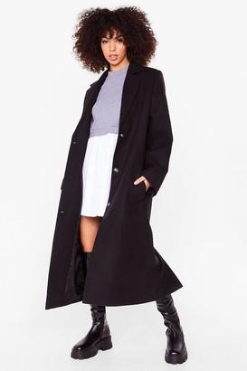 Nasty Gal Womens I Wool Be Waitin' Faux Wool Longline Coat - Black - 4