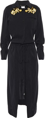 Carven Draped Embroidered Washed Silk-blend Midi Dress